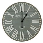 Vintage Style Grand Hotel Wall Clock Blue-Grey Planks w Roman Dial 60cm